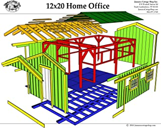 Step-By-Step DIY PLANS - Timber Frame Post and Beam Cabin Plans - 12x20 Home Office - Backyard Cottage or Hunting Cabin with Porch - Step-By-Step DIY Plans