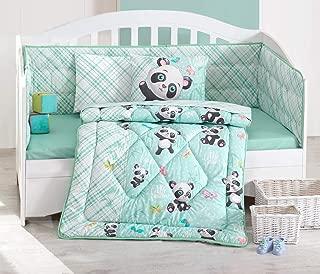 Cute Little Panda Bedding Set - 100% Cotton Nursery Crib Set for Girls, 6 Pieces Baby Comforter/Quilt Set with Crib Bumper, Comforter, Crib Sheet, Pillowcases