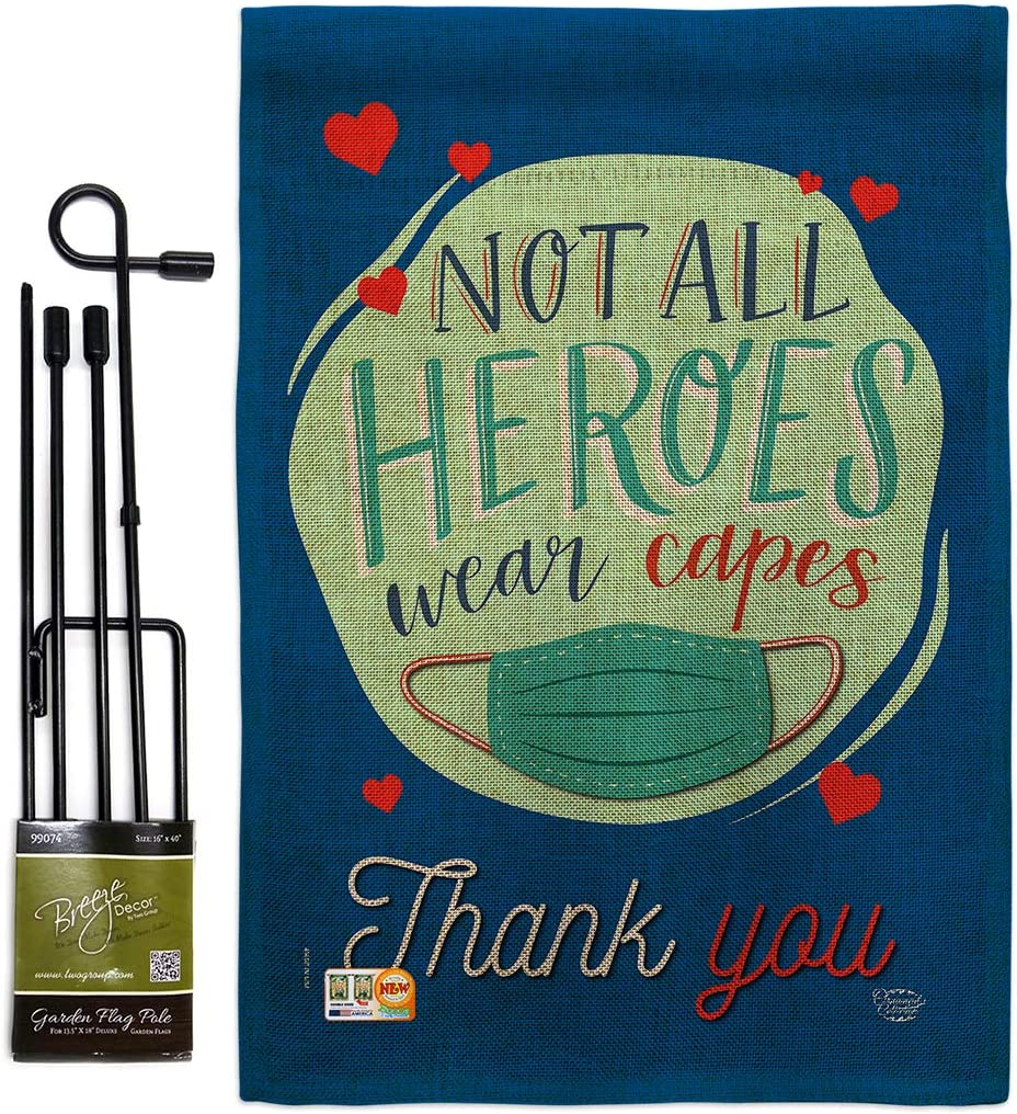 Inspirational Thank 気質アップ You All Heroes Burlap Garden Flag with 全商品オープニング価格 S Set