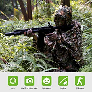 Ghillie Suit Poncho - Camouflage 3D Leafy Hooded for Youth, Boys, Kid, for Halloween Cosplay Counter Strike Hunting Accessories