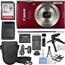 Canon PowerShot ELPH 180 Digital Camera (Red) + 32GB SDHC Memory Card + Flexible tripod + AC/DC Turbo Travel Charger + Replacement battery + Protective camera case with Deluxe Bundle
