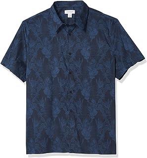 Calvin Klein Mens Short Sleeve Button Down Stretch Cotton Shirt