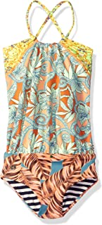 Girls' Mixed Print One Piece Swimsuit with Blouson Detail