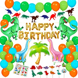 Dinosaur Party Supplies - 90 pcs for Birthday Decorations Dino Party Decorations for kids dinosaur party favors Dinosaur party balloons Dinosaur Cake Topper jungle Latex Balloons with Pump tattoo