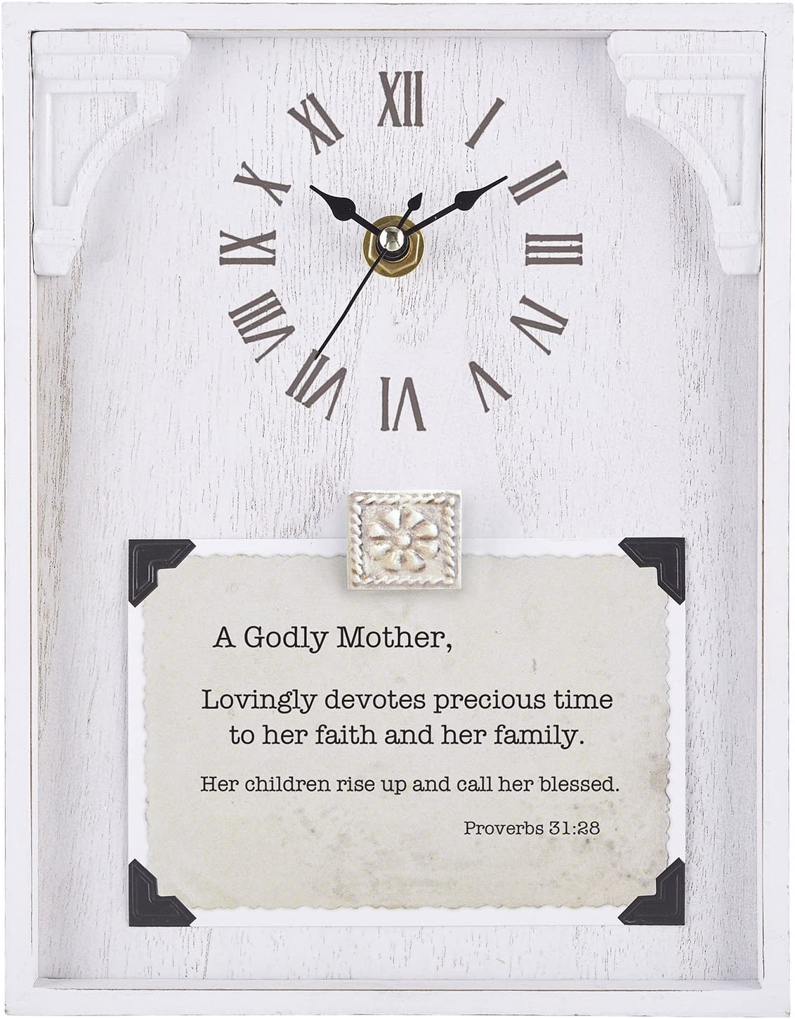 Amazon Com Cb Gift Heartfelt Collection Framed Table Clock With Sentiment 7 X 9 Appreciation 1 Thessalonians 5 18 Home Kitchen