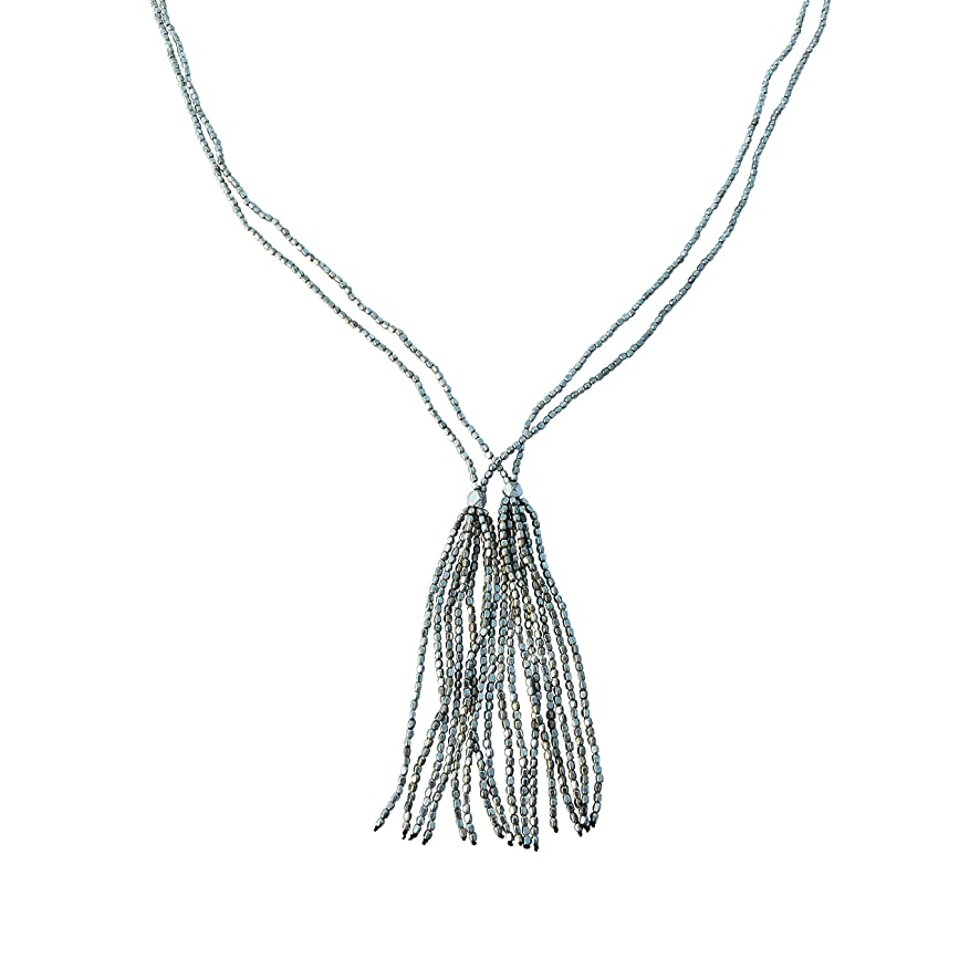 Brass Faceted Beads Double Layer Tassel Long Necklace - Silver Color - Everyday Jewelry Women Jewelry Girl Jewelry Ethnic Jewelry Versatile Jewelry Beaded Jewelry Summer Jewelry Gypsy Jewelry Mom Gift