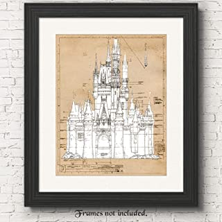 Cinderella Castle Vintage Patent Poster Prints, Set of 1 (11x14) Unframed Photo, Great Wall Art Decor Gifts Under 15 for Home, Office, Nursery, Teacher, Women, Adult, Disney Princess Decorations Fan