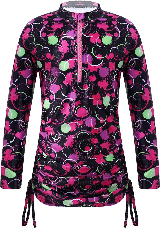 YUUMIN Girls Floral Print Long Sleeves Rashgurad Swimsuit UPF 50+ Kids Ruffles Hem Swim Shirts
