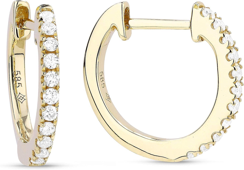 14K Rose Gold 0.14ct White Diamond Hoop Earrings