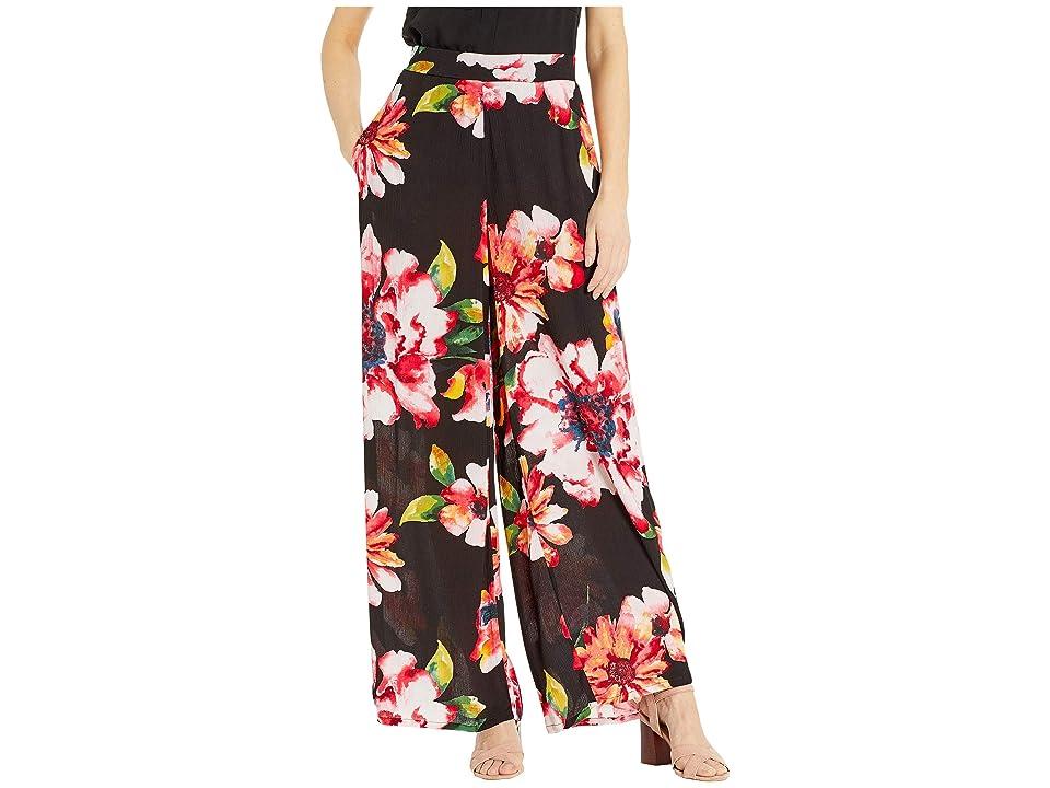 eci Floral Printed Flare Pants (Black/Pink) Women