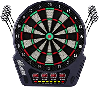 OMEILIA Electronic Dart Board, Dart Board Game Set Professional Dartboard with 4 LED Display Screen, 27 Games and 243 Variants 6 Darts, 24 Spare Tip Darts, for 16 Players