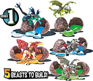Mega Construx Breakout Beasts Complete Wave 1 Series Set of 5 Blind Eggs Torchwing, Blackheart, Boulder, Tempyst, and Ironclaw Dragons