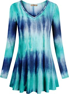 f818eaee4f9 Miusey Women s V Neck Long Sleeve Flared Shirt Flowy Loose Fit Casual Tunic  Tops