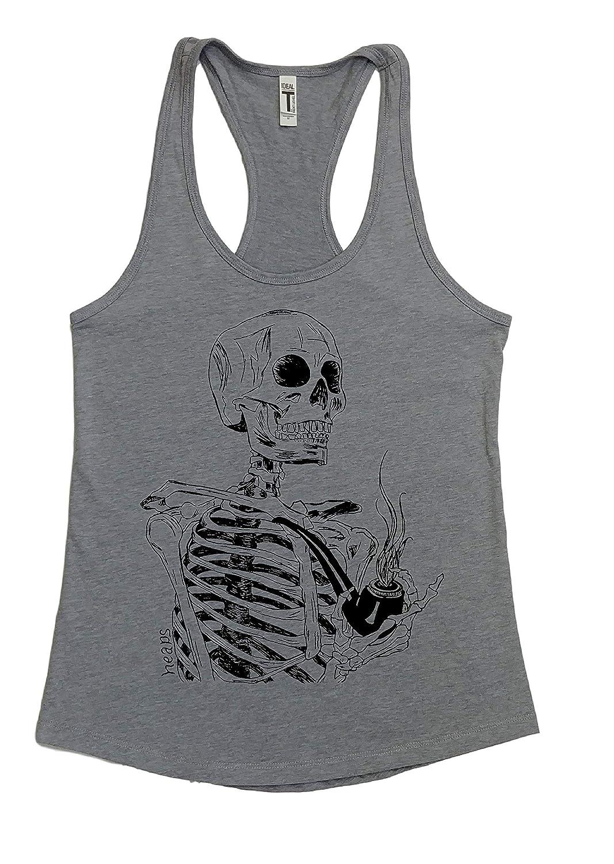 Womans Tank Top Skeleton Smoking Sleeveless Pipe Shi Sale special Bargain price a Racerback