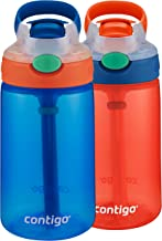 Contigo Kids Gizmo Flip Water Bottles, 14oz, French Blue/Coral, 2-Pack