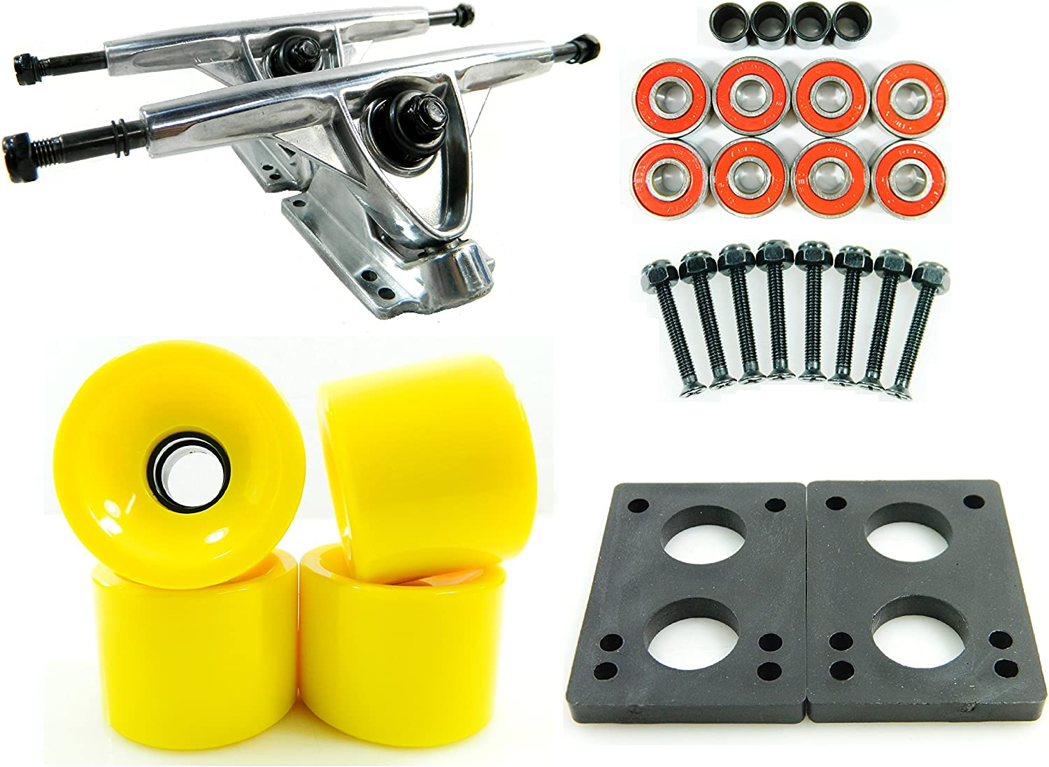 180mm Polished Trucks 70mm Wheels Combo Solid Yellow