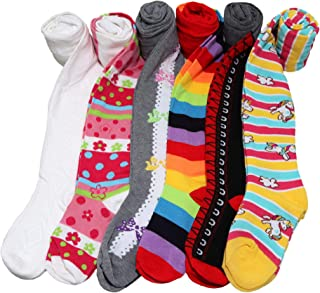 Angelina Girl's Colorful Assorted Winter Tights with Heel and Toe (6-Pack)