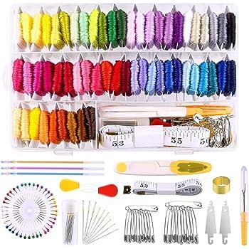 MIAHART 158 piezas de hilo de bordar con caja de almacenamiento del organizador, 57 hilos de bordado de color y kits de herramientas de punto de cruz para hacer cadenas de pulseras: