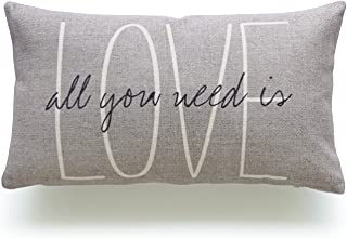 Hofdeco Lumbar Pillow Case Grey Love Is All You Need His and Her Love Script HEAVY WEIGHT FABRIC Cushion Cover 12x20