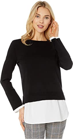 Long Sleeve Crew Neck Sweater with Cotton Shirting