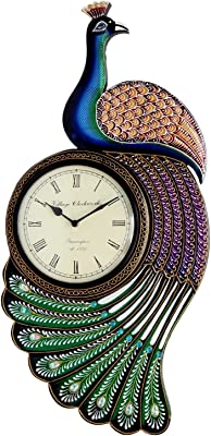 Royalscart Wooden Peacock Analog Wall Clock (35 cm X 3 cm X 60 cm, Multicolor)[KTWC170]
