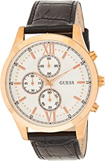 GUESS Mens Quartz Watch, Analog Display and Leather Strap W0876G2 Rose Gold