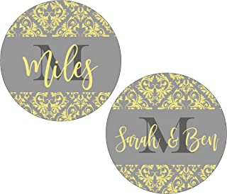 Yellow Gray Personalized Coasters Family Name Neoprene (Set of 4)