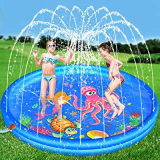 Hamsoo 68'' Splash Pad Play Mat for Kids Age 2 3 4 5 6 7 8, Sprinkle & Splash Summer Toys for Toddlers Outdoor Swimming Baby Pool Inflatable Outside Water Toy for 2-12 Year Old Boys Girls