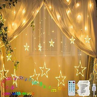 138 LEDs Luces de Cortina de Estrella, Hezbjiti Estrella Guirnalda de Luces de Cadena Estrelladas con Función de Ritmo Musical, Mando a Distancia Para Exteriores/Xmas/Party(Blanco Cálido)