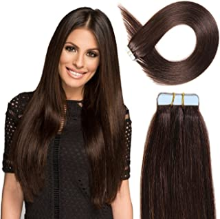 Kabello Hair Tape In Human Hair Extensions Silky Straight Skin Weft Human Remy Hair 40 Pcs 100 Grams 18 Inch Dark Brown