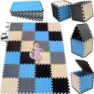 MSHEN 24 Piezas Alfombra Puzzle Bebe con Certificado CE y certificación EVA   Puzzle Suelo Bebe   Puede ser Lavado Goma eva,Tamaño 1.93cuadrado,negro-azul-beige-gris-04071012g24