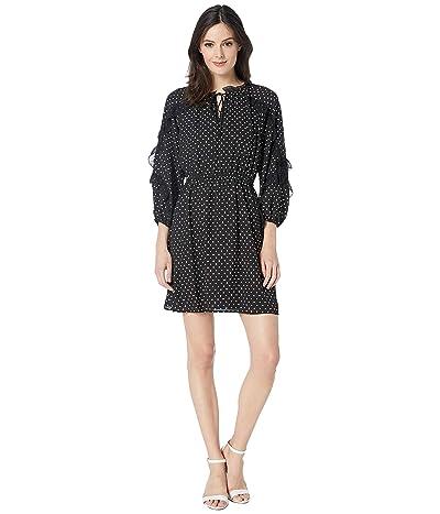 CeCe Long Sleeve Cascading Ruffle Pindot Dress (Rich Black) Women