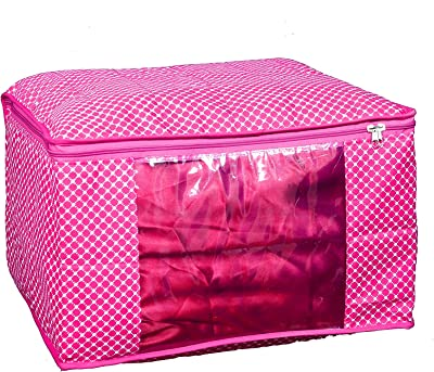 Home Store India Cotton Quilted Extra Large Size Saree Cover/Bag/Wardrobe Organiser - Pack of 3 - Pink