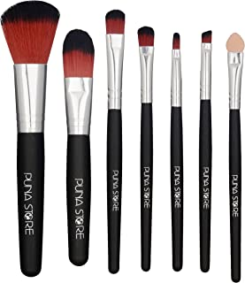 Puna Store 7 Piece Makeup Brush Set with Storage Pouch - Black