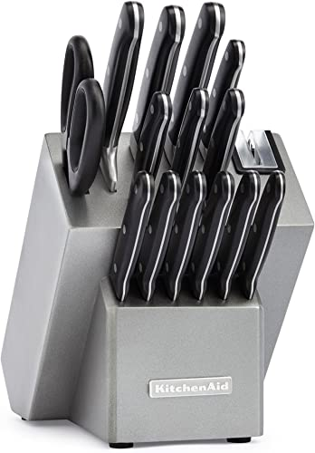 2021 KitchenAid KKFTR16SL 16 outlet sale Piece Classic outlet sale Forged Series Triple Rivet Cutlery Set, Silver outlet sale