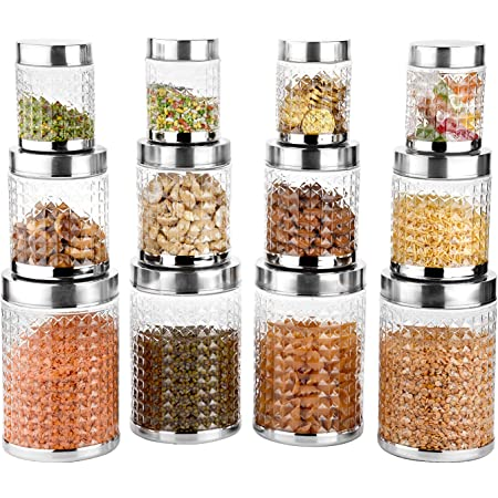 Sky Hector Celebration 12 Pcs Storage Pet Container Gift Set for Kitchen (300 ml x 4, 600 ml x 4, 1250 ml x 4),Silver (Regular - 12 pieces)