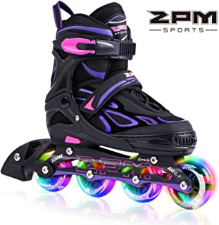 2PM SPORTS Vinal Girls Adjustable Inline Skates with Light up Wheels Beginner Skates Fun Illuminating Roller Skates for Kids Boys and Ladies