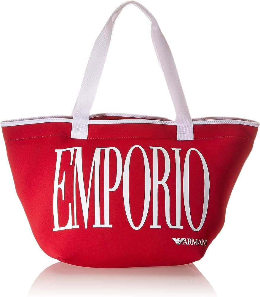 Emporio armani swimwear shopping bag borsa da donna in tessuto tecnico rosso