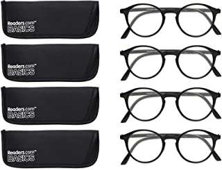 Readers.com Fully Magnified Reading Glasses: The Port - 4 Pairs, Classic Round Reader for Women and Men