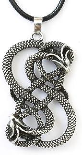 "HAQUIL Loki Necklace - Metal Alloy, Viking Loki Symbol Pendant - PU Leather Cord, 19.7"""