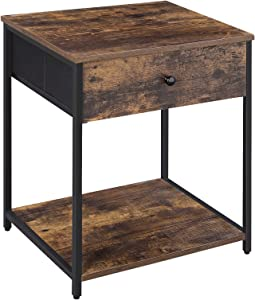 SONGMICS Rustic Nightstand, Industrial Bedside Table with Drawer, 2 Shelves, Fabric Drawer Dresser, End Table with Wooden Top and Front, Rustic Brown and Black ULGS20H