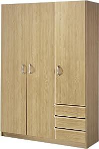 MUEBLECASA.COM Armario 3 Puertas con Cajones Puertas Abatibles 200cm Alto x 120cm Ancho x 50cm Fondo (Roble)