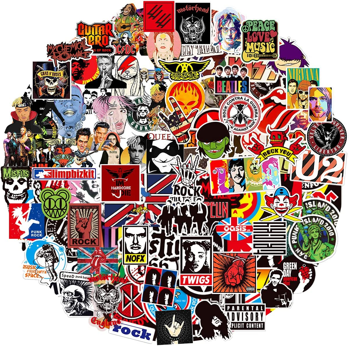 Band Stickers, 200PCS Rock and Roll Music Stickers, Rock Speed Punk Band Vinyl Waterproof Stickers for Laptop, Electronic Organ, Skateboard, Luggage Graffiti ,Guitar, Piano, Helmet Decals
