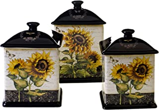 Certified International 43210 3 Piece French Sunflowers Canister Set, 56 oz/60 oz/96 oz, Multicolored