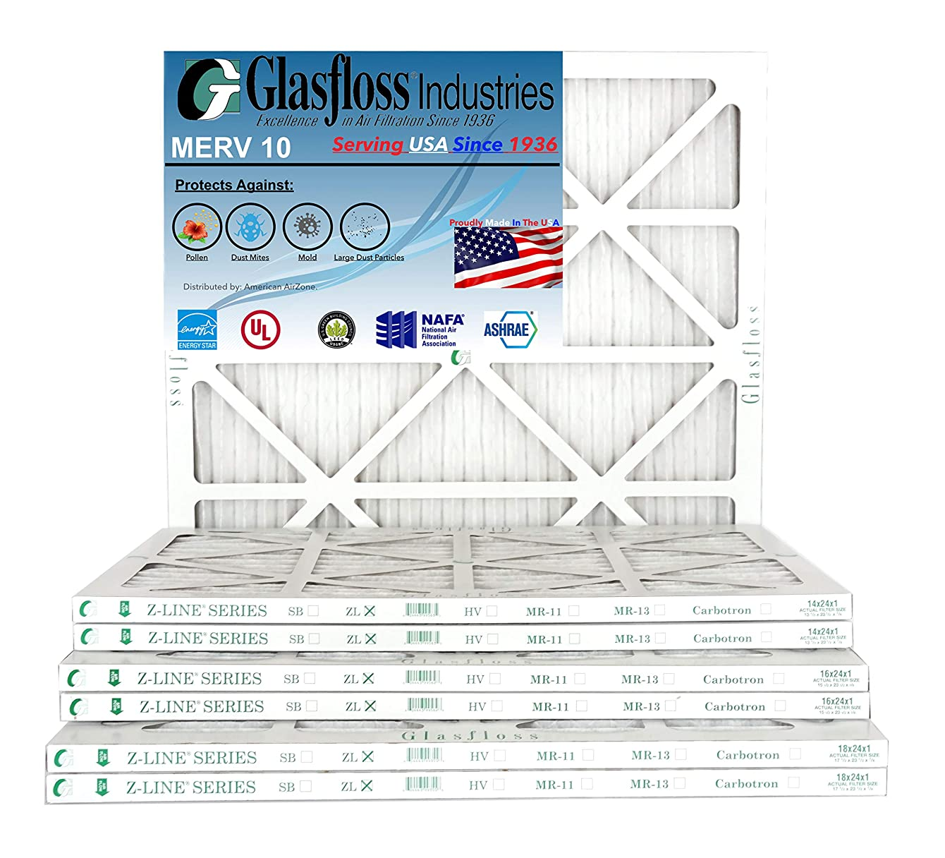 Glasfloss 14x24x1, 1 Inch MERV 10 Pleated AC Furnace Filter- (Pack of 12)- Proudly Made In The USA.