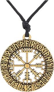 Nordic Viking Rune Vegvisir Compass Pendant Necklace for Men/Women Donot Lose ONESELF