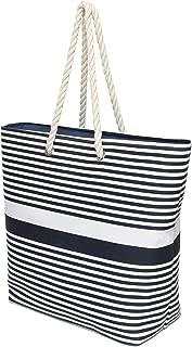 Large Canvas Beach Shoulder Bag Mom's Tote Bag Top Zipper Closure Striped Handbag, Navy
