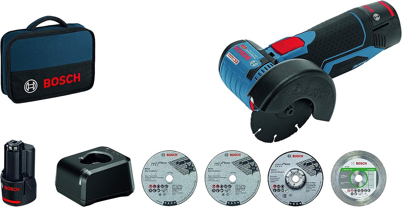 Bosch Professional 06019F2003 12V System Meuleuse Angulaire sans-fil GWS 12V-76 3 Disques /à Tron/çonner,76 mm Bleu /& Bosch 2608615020 Disque /à tron/çonner diamant/é best for ceramic 76 mm 1,9 mm 10 mm