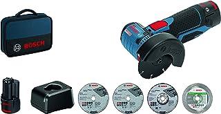 Bosch Professional Batteri Vinkelslip GWS 12 V – 76 (2 x 2,0 Ah Batterier, 5 st. Separations- och Slipskivor), Blå/Svart