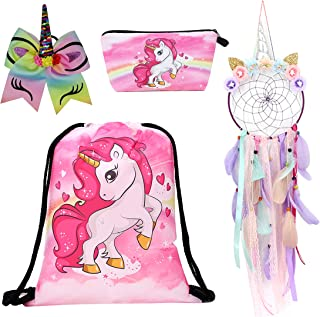 Charmbow Unicorn Gift Set Girls Drawstring Backpack/Unicorn Dream Catcher/Make-up Bag/Hair Bow for Girls Kids Nursery Bedroom Wall Hanging Decoration (Pink)